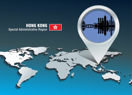 hong kong: Map pin with Hong Kong skyline - vector illustration