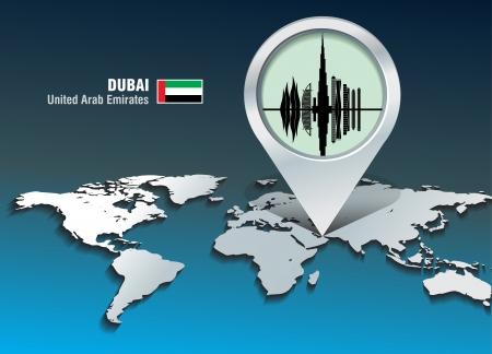 dubai: Map pin with Dubai skyline - vector illustration