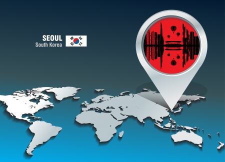 web design bridge: Map pin with Seoul skyline - vector illustration