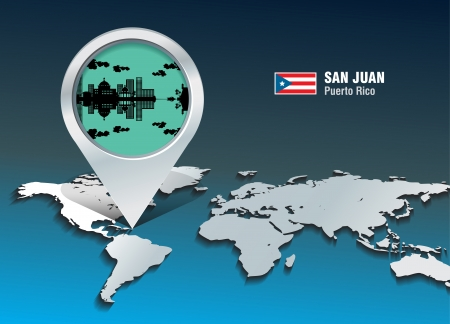 Map pin with San Juan skyline - vector illustration Vector