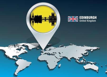 edinburgh: Speld van de kaart met de skyline van Edinburgh - vector illustratie