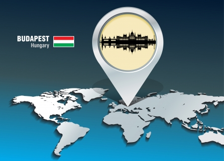 Map pin with Budapest skyline - vector illustration Vector