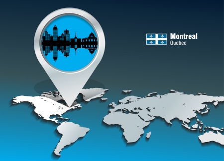 quebec city: Map pin with Montreal skyline - vector illustration