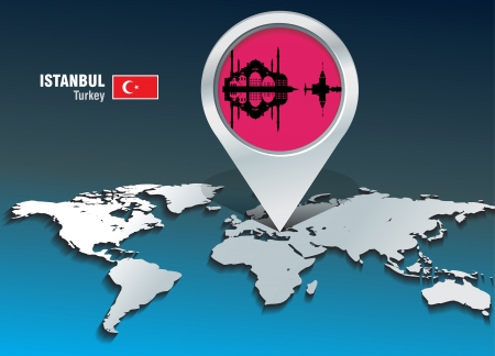 Map pin with Istanbul skyline - vector illustration Vector