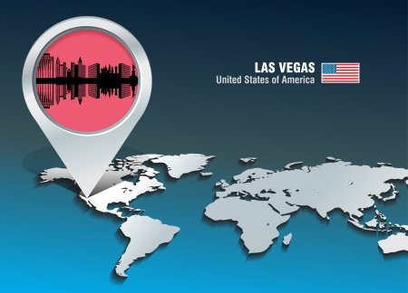 Map pin with Las Vegas skyline - vector illustration Vector