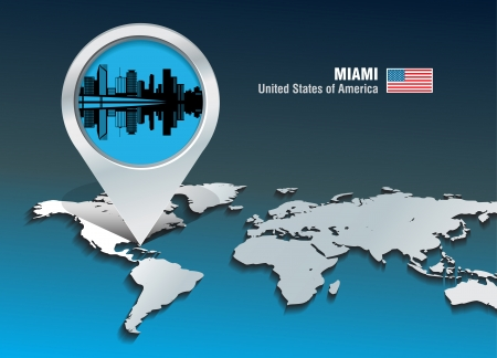 Map pin with Miami skyline - vector illustration Vector