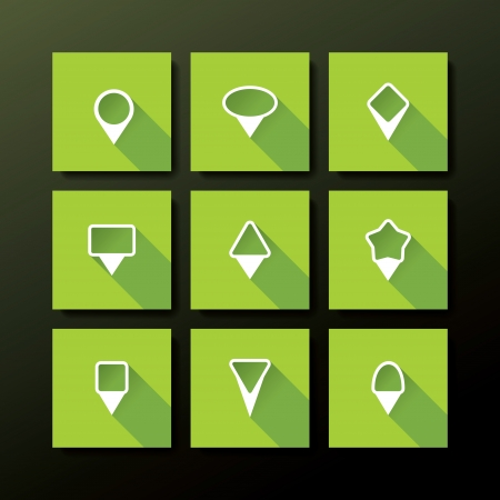 Vector flat icon set - map pin collection Vector