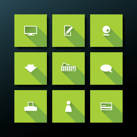 Flat web icon set - vector illustration Vector