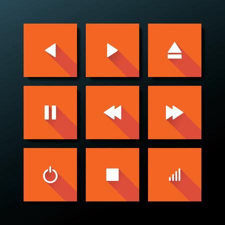 Flat media icon set - vector illustration Vector