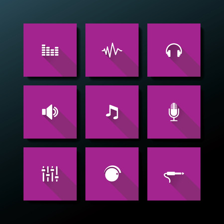 Flat audio icon set - vector illustration Vector