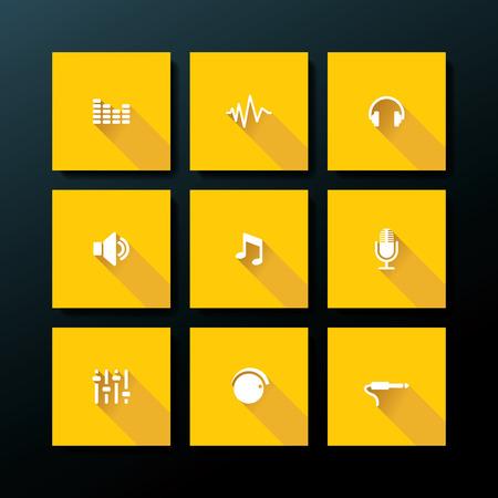 Flat audio icon set - vector illustration Vector
