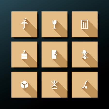 Flat packaging icon set - vector illustration Illustration
