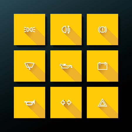 Flat car dashboard icon set - vector illustration Vector