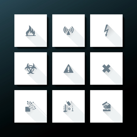Flat warning icon set - vector illustration Vector