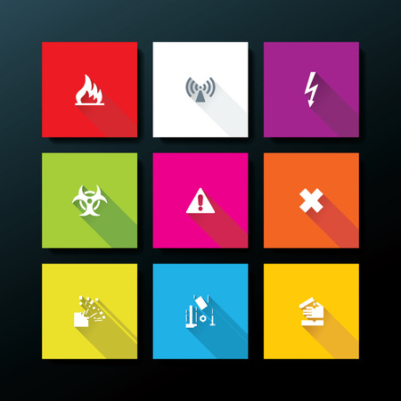Flat warning icon set - vector illustration