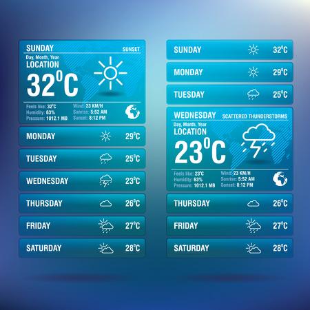 모바일 - 벡터 일러스트 레이션을위한 날씨 위젯 앱
