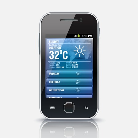 Mobile phone with Weather widget app, eps 10 - vector illustration Vector