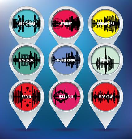 seoul: Carte �pingles � Abu Dhabi, Sydney, Singapour, Bangkok, Hong Kong, Duba�, S�oul, Istanbul et Moscou - illustration vectorielle Illustration