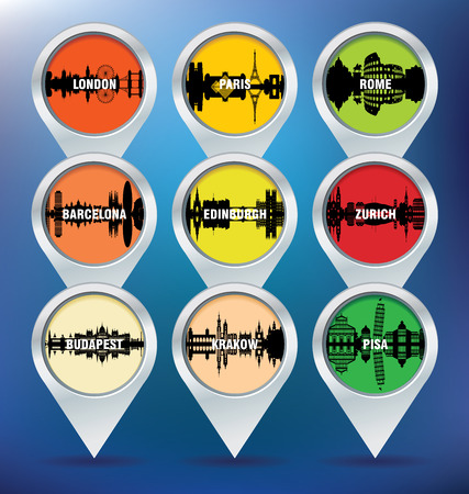 edinburgh: Pins mit London, Paris, Rom, Barcelona, ??Edinburgh, Z�rich, Budapest, Krakau und Pisa - Vektor-Illustration Illustration
