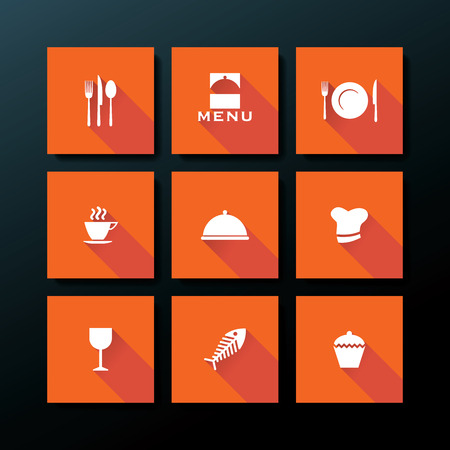 Flat restaurant icon set - vector illustration Vector