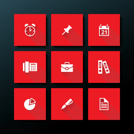 Flat office icon set - vector illustration Vector