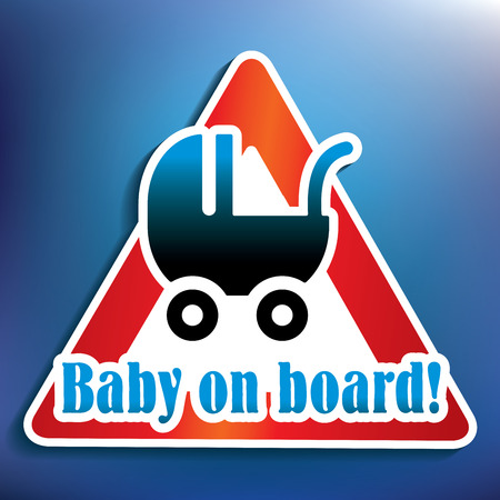 suckling: Baby on board sticker - vector illustration