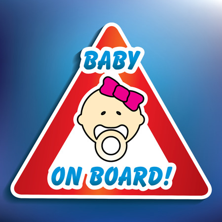 conduct: Baby on board sticker - vector illustration