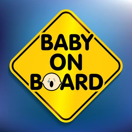 suckling: Baby a bordo adesivo - illustrazione vettoriale