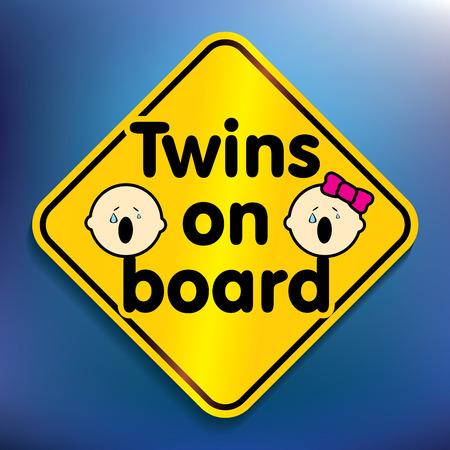 conduct: Twins on board sticker - vector illustration Illustration
