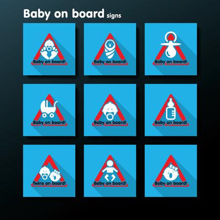 suckling: Bambino piatto a bordo segno set - illustrazione vettoriale
