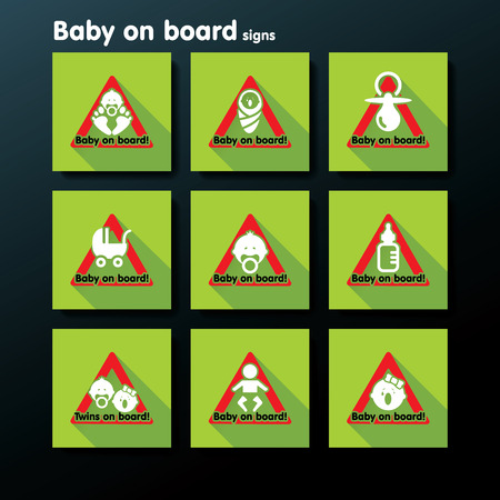 conduct: Flat baby on board sign set - vector illustration