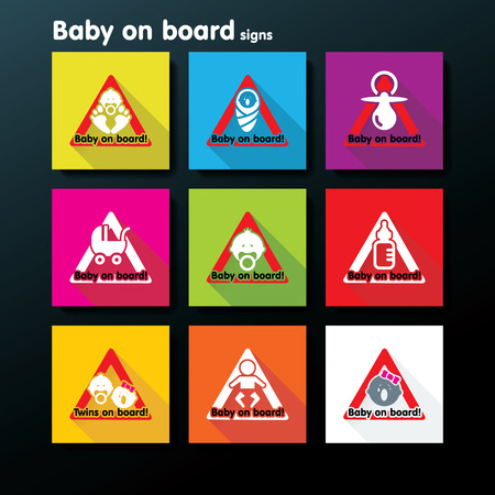 suckling: Flat baby on board sign set - vector illustration