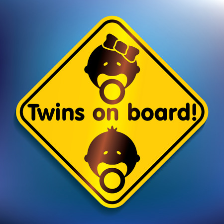 suckling: Twins on board sticker - vector illustration Illustration