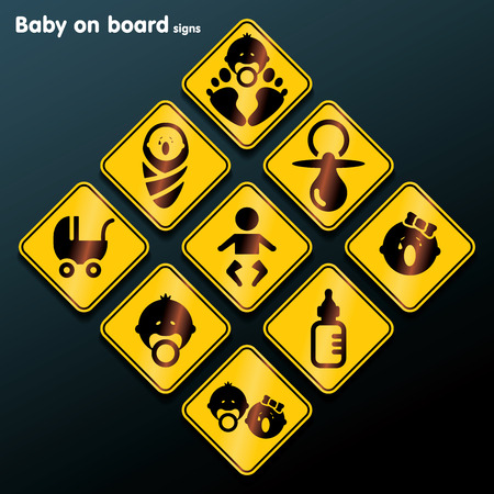 suckling: Flat baby on board sign set illustration Illustration