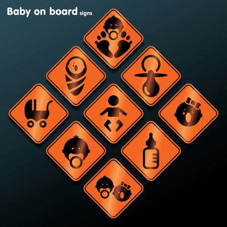 Flat baby on board sign set illustration Vector