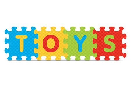'TOYS' written with alphabet puzzle  Vector