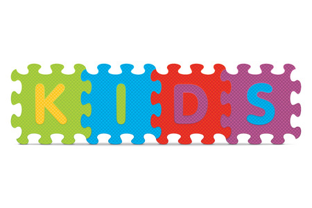 KIDS written with alphabet puzzle Vector