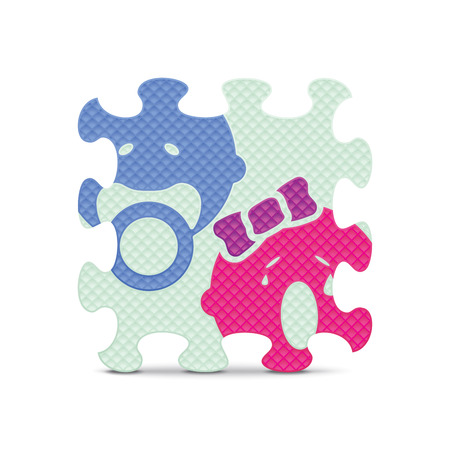 items: Baby sign made with alphabet puzzle - vector illustration