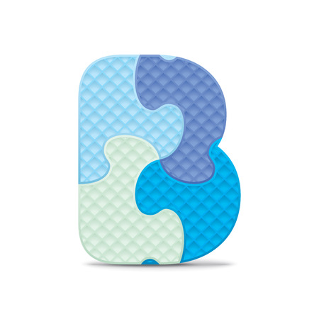 Letter B written with alphabet puzzle  Vector