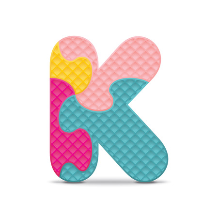 Letter K written with alphabet puzzle  Illustration