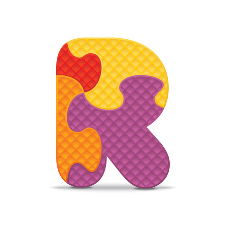 letter r: Letter R written with alphabet puzzle