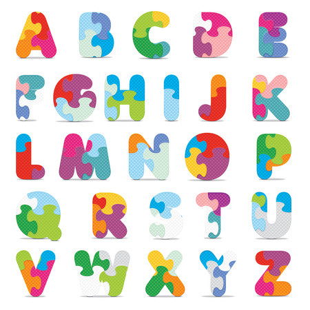 art piece: Alphabet written with puzzle  Illustration