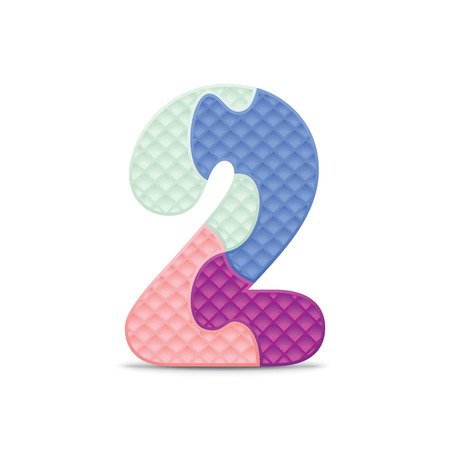 Number 2 written with alphabet puzzle  Vector