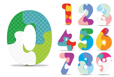 numbers abstract: Numbers written with alphabet puzzle