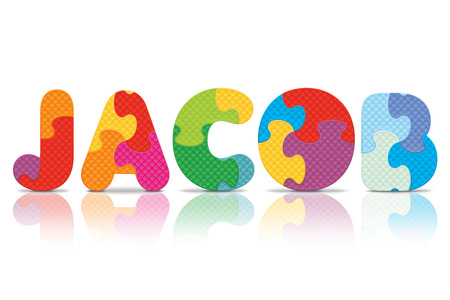 JACOB written with alphabet puzzle  Vector