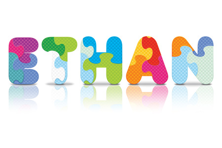 ETHAN written with alphabet puzzle