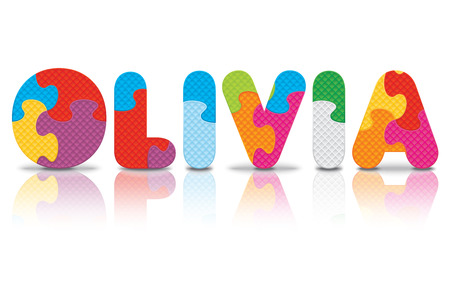 OLIVIA written with alphabet puzzle  Vector