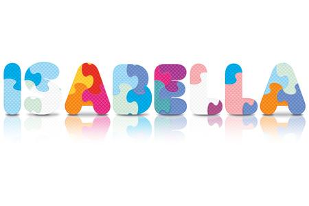 isabella: ISABELLA written with alphabet puzzle  Illustration