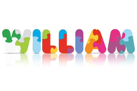 WILLIAM written with alphabet puzzle Vector
