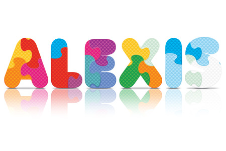 ALEXIS written with alphabet puzzle  Vector